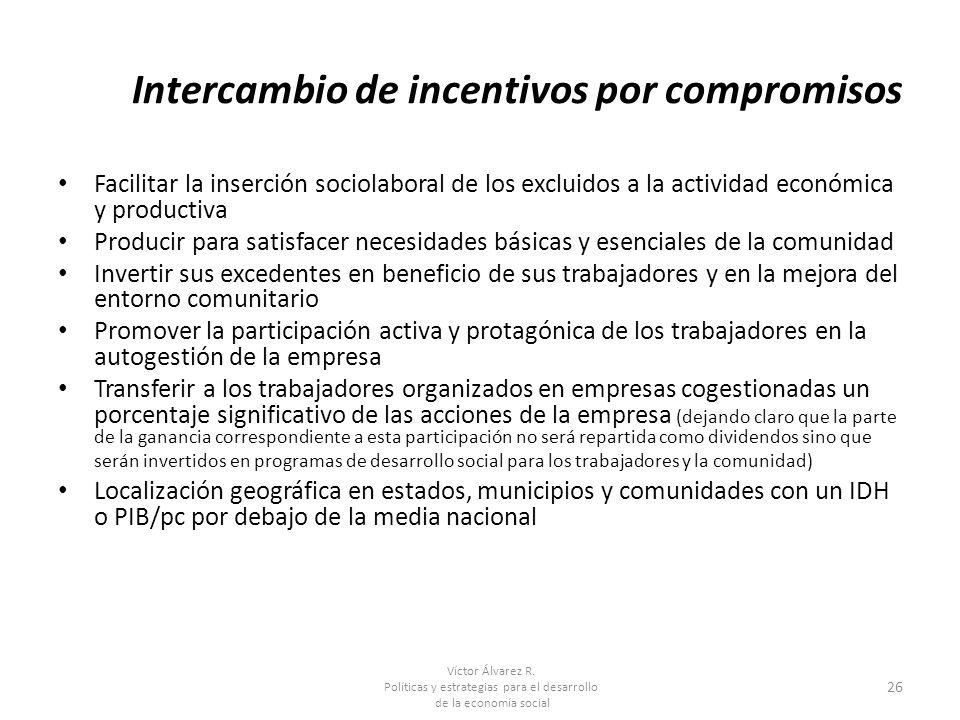 Intercambio de incentivos por compromisos