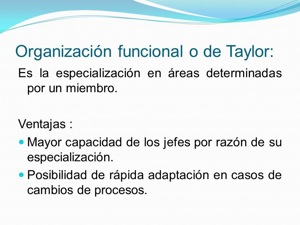 Organización funcional o de Taylor: