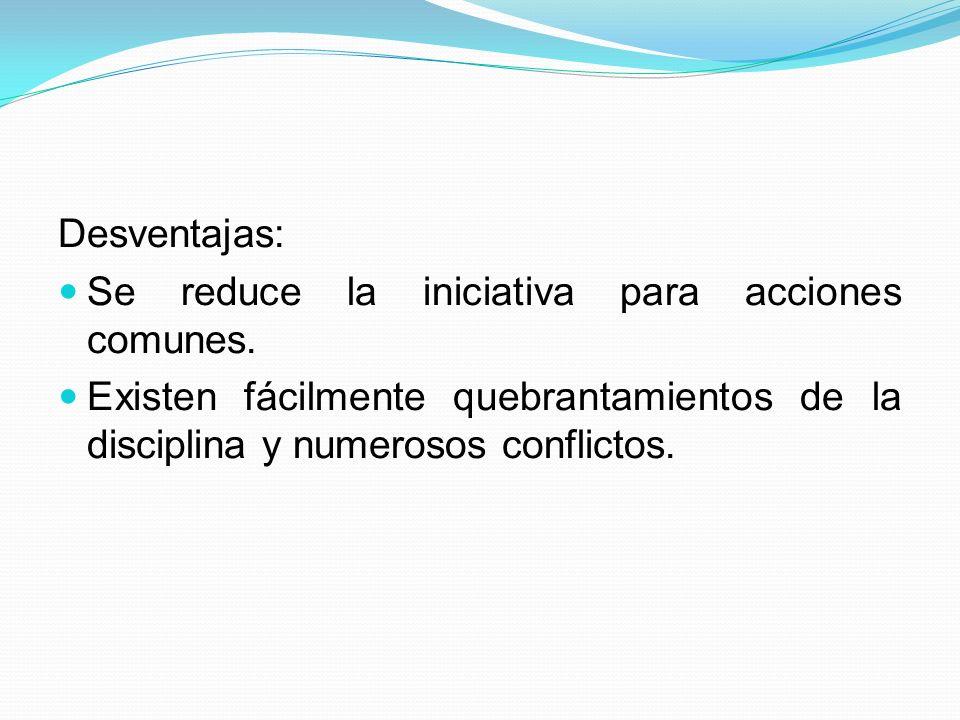 Desventajas: Se reduce la iniciativa para acciones comunes.