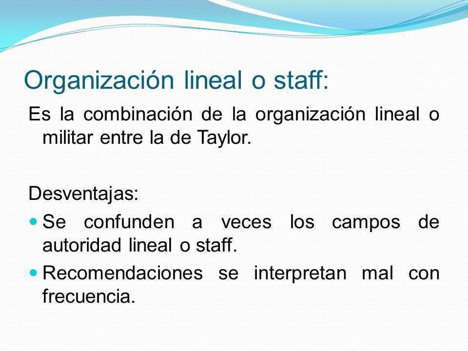Organización lineal o staff: