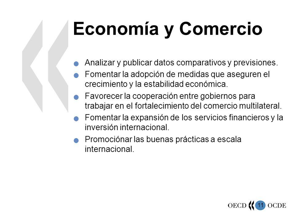 Economía y Comercio Analizar y publicar datos comparativos y previsiones.