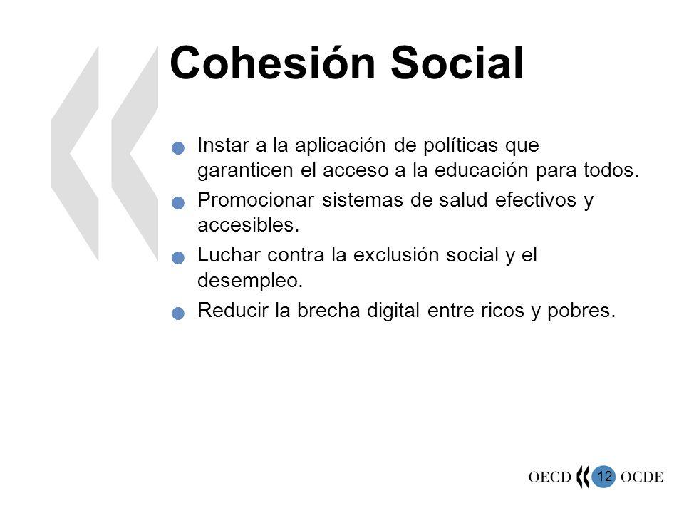 Cohesión Social Instar a la aplicación de políticas que garanticen el acceso a la educación para todos.