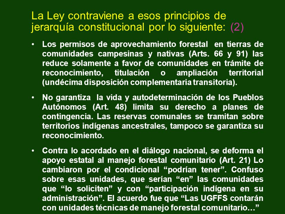 La Ley contraviene a esos principios de jerarquía constitucional por lo siguiente: (2)
