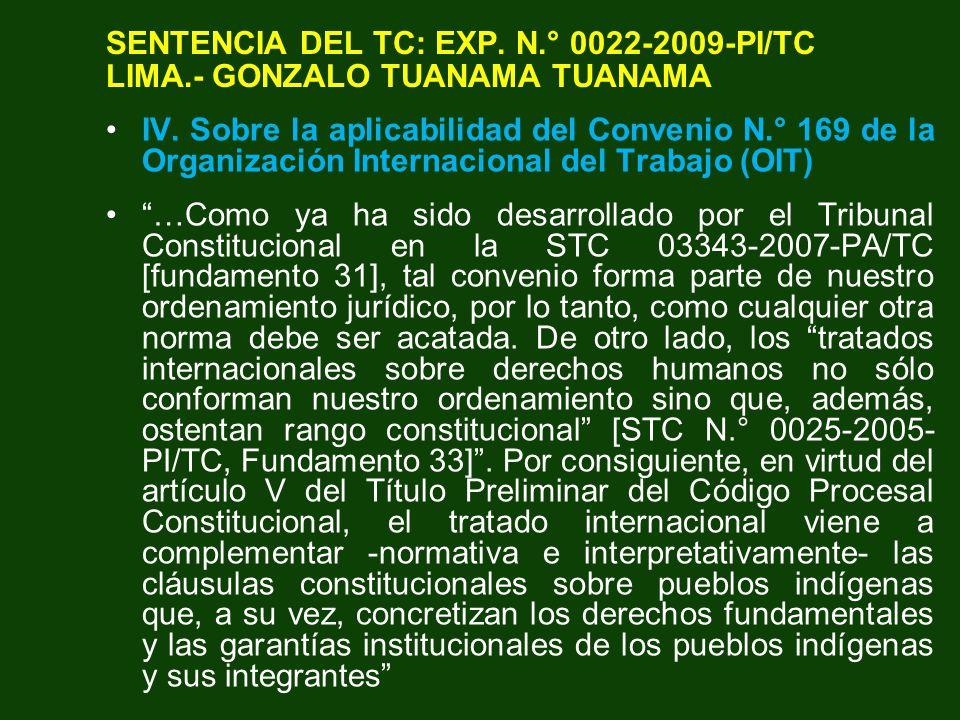 SENTENCIA DEL TC: EXP. N. ° 0022-2009-PI/TC LIMA