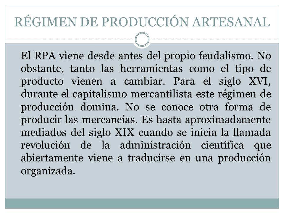 RÉGIMEN DE PRODUCCIÓN ARTESANAL
