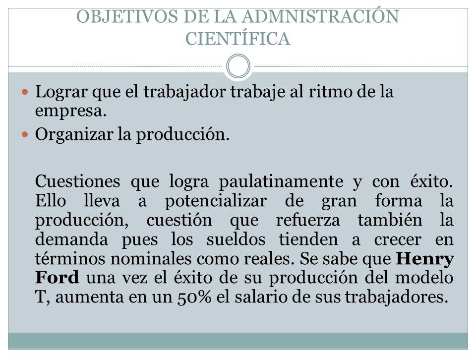 OBJETIVOS DE LA ADMNISTRACIÓN CIENTÍFICA
