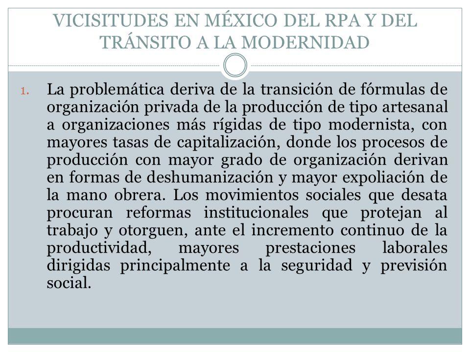 VICISITUDES EN MÉXICO DEL RPA Y DEL TRÁNSITO A LA MODERNIDAD