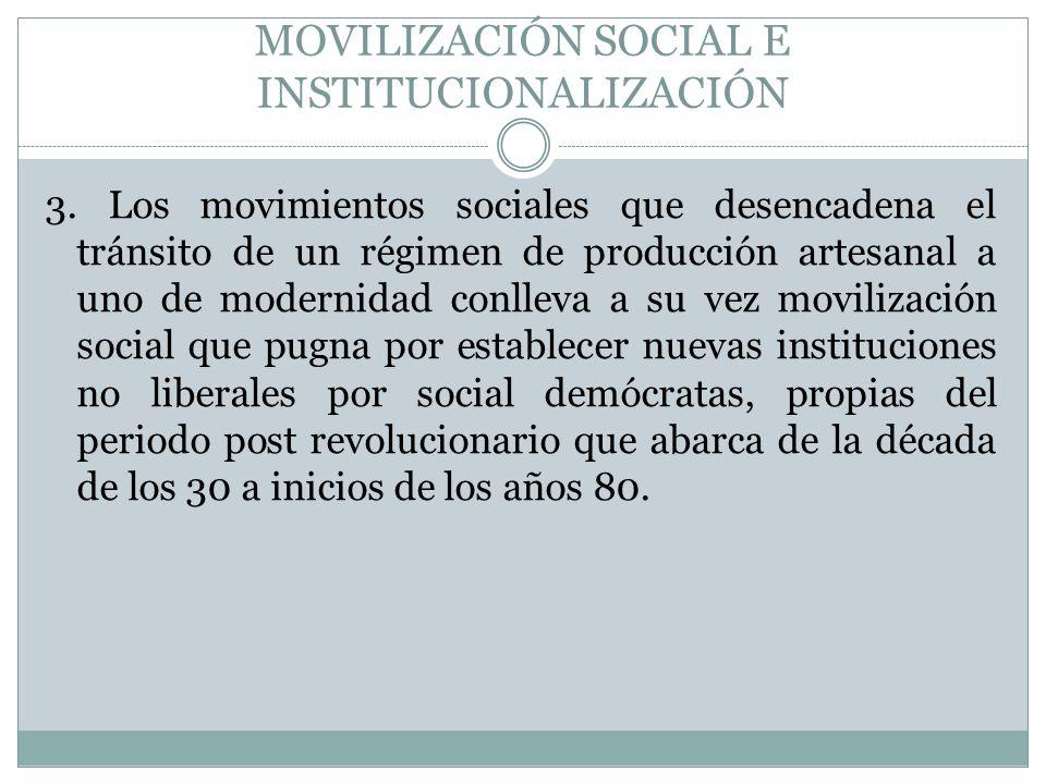 MOVILIZACIÓN SOCIAL E INSTITUCIONALIZACIÓN