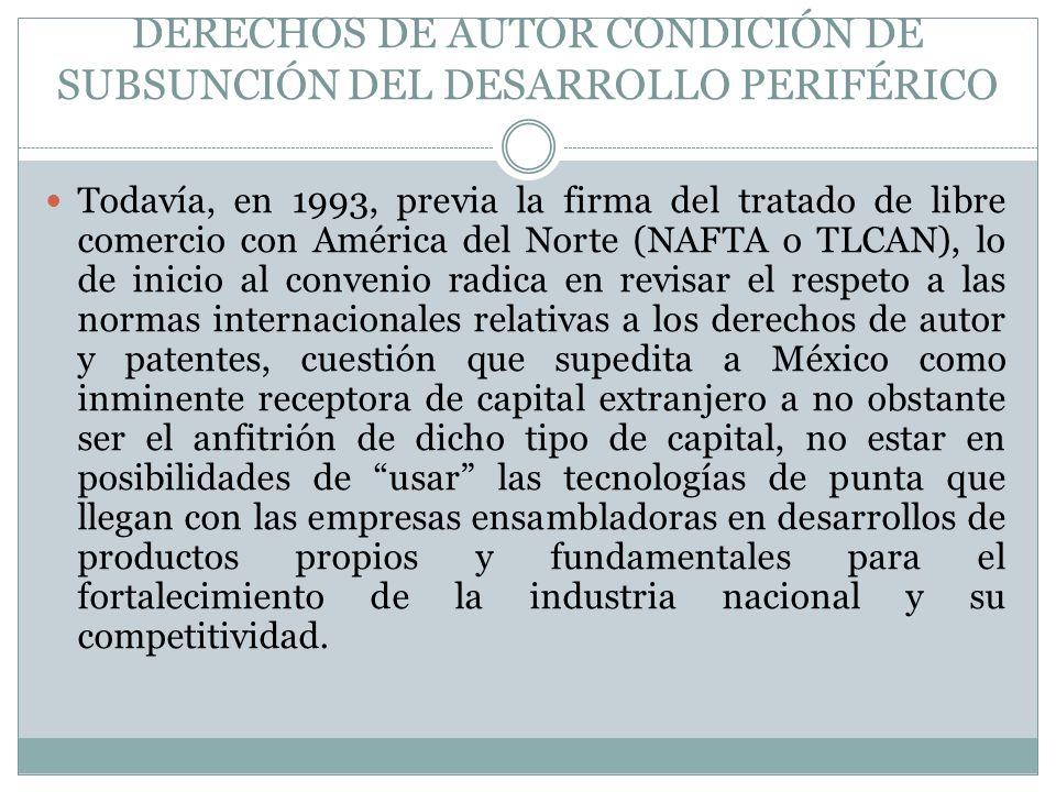 DERECHOS DE AUTOR CONDICIÓN DE SUBSUNCIÓN DEL DESARROLLO PERIFÉRICO