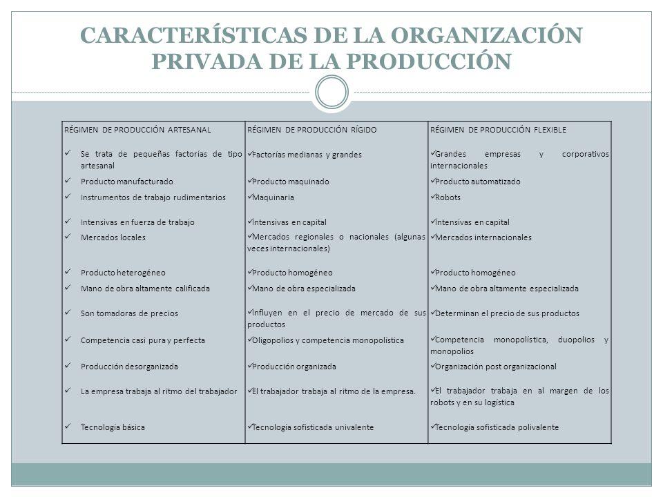 CARACTERÍSTICAS DE LA ORGANIZACIÓN PRIVADA DE LA PRODUCCIÓN