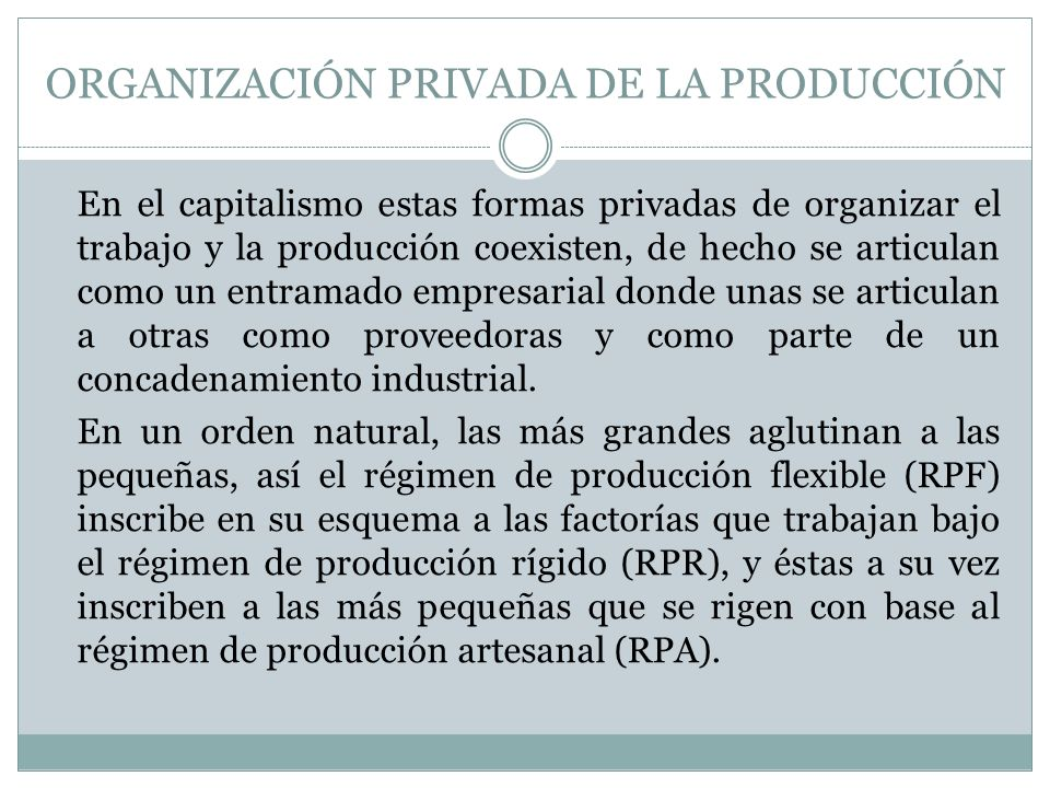 ORGANIZACIÓN PRIVADA DE LA PRODUCCIÓN