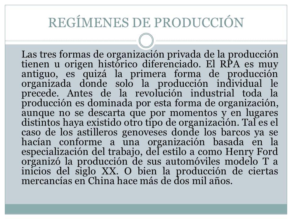 REGÍMENES DE PRODUCCIÓN