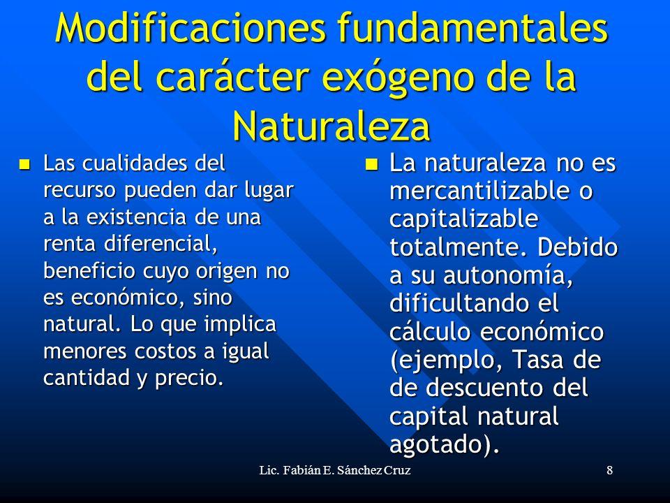 Modificaciones fundamentales del carácter exógeno de la Naturaleza