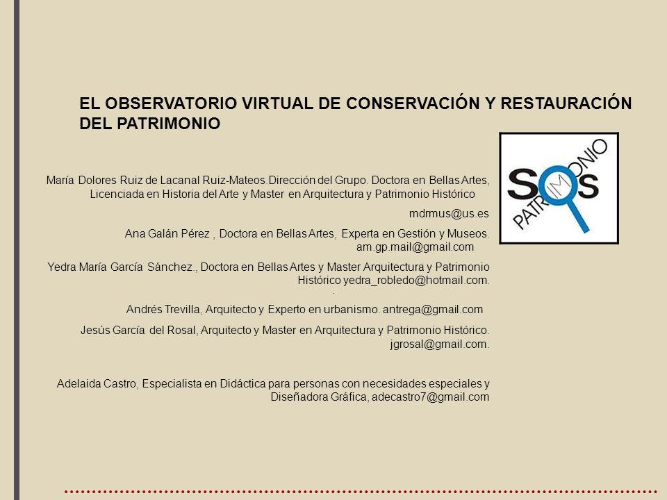 ,EL OBSERVATORIO VIRTUAL DE CONSERVACIÓN Y RESTAURACIÓN DEL PATRIMONIO.