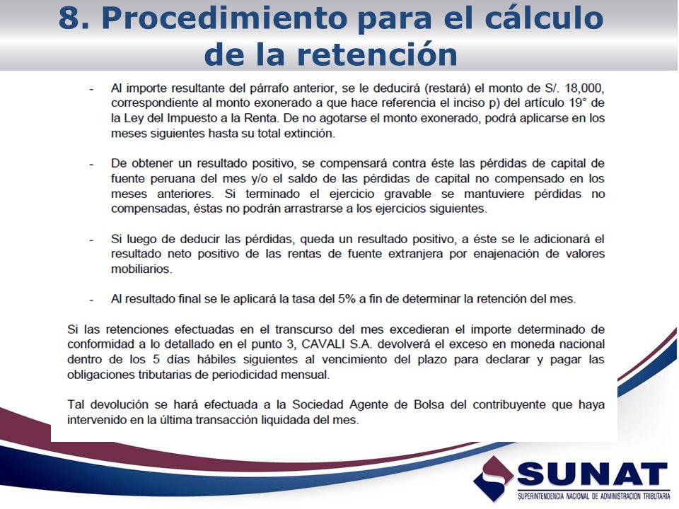 8. Procedimiento para el cálculo de la retención
