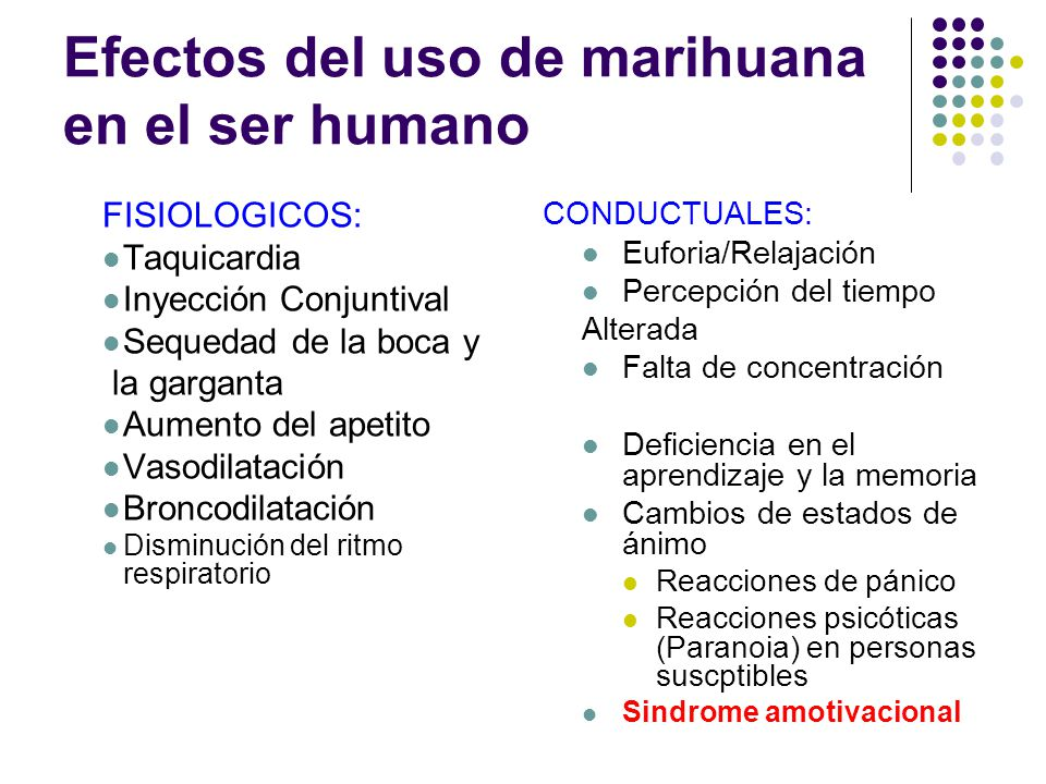 Efectos del uso de marihuana en el ser humano