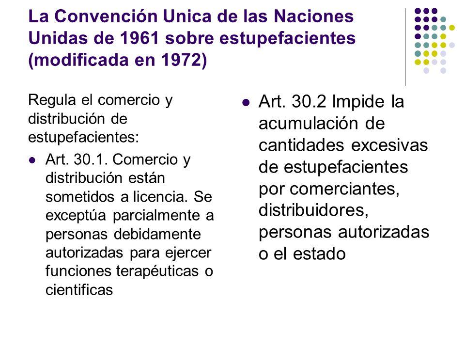La Convención Unica de las Naciones Unidas de 1961 sobre estupefacientes (modificada en 1972)