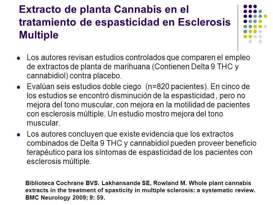 Extracto de planta Cannabis en el tratamiento de espasticidad en Esclerosis Multiple