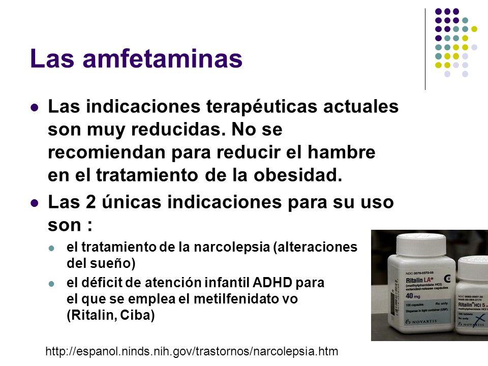 Las amfetaminas Las indicaciones terapéuticas actuales son muy reducidas. No se recomiendan para reducir el hambre en el tratamiento de la obesidad.