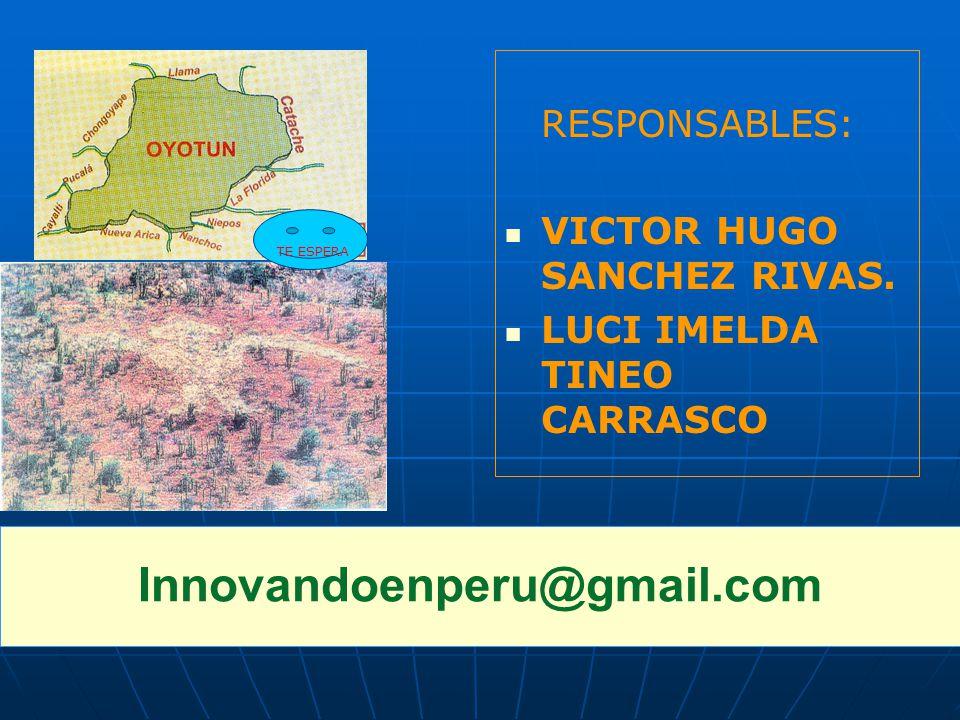 Innovandoenperu@gmail.com RESPONSABLES: VICTOR HUGO SANCHEZ RIVAS.