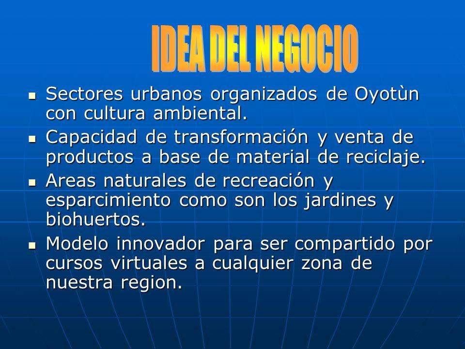 IDEA DEL NEGOCIO Sectores urbanos organizados de Oyotùn con cultura ambiental.