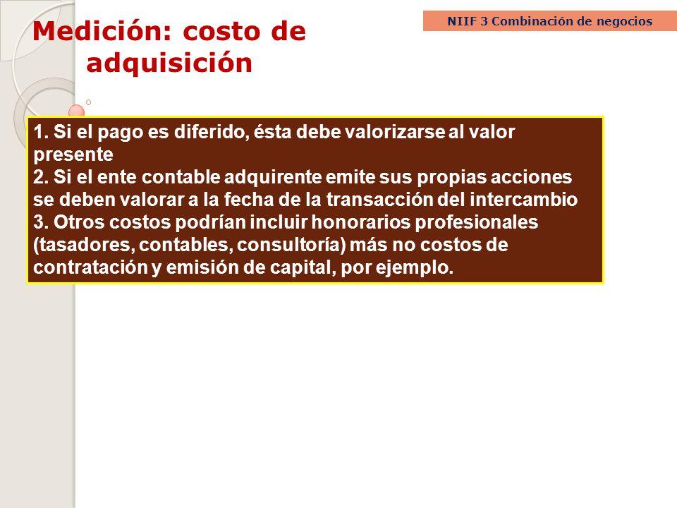 Medición: costo de adquisición NIIF 3 Combinación de negocios