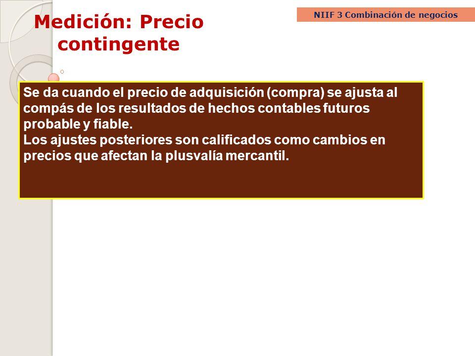 Medición: Precio contingente NIIF 3 Combinación de negocios