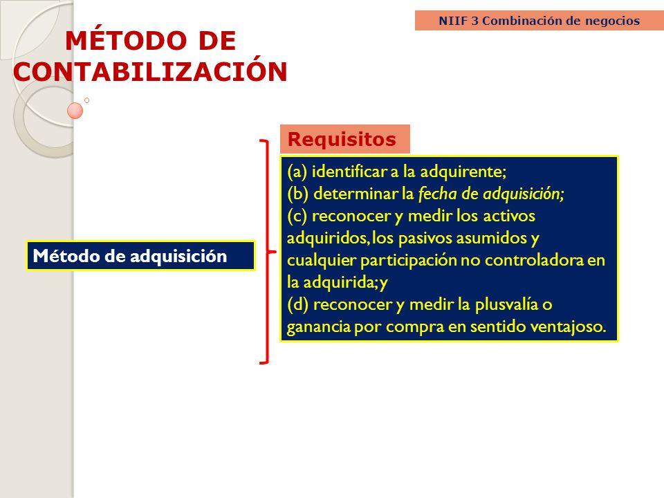 NIIF 3 Combinación de negocios MÉTODO DE CONTABILIZACIÓN