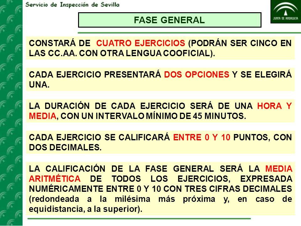 FASE GENERAL CONSTARÁ DE CUATRO EJERCICIOS (PODRÁN SER CINCO EN LAS CC.AA. CON OTRA LENGUA COOFICIAL).