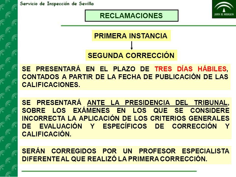 RECLAMACIONES PRIMERA INSTANCIA SEGUNDA CORRECCIÓN