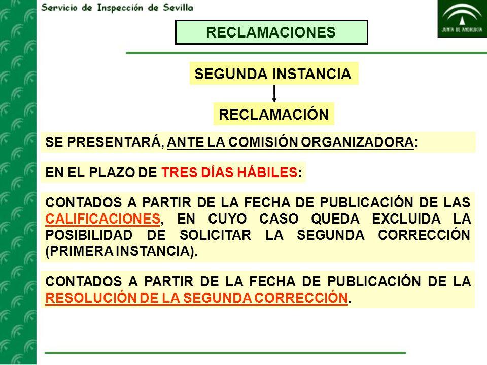 RECLAMACIONES SEGUNDA INSTANCIA RECLAMACIÓN