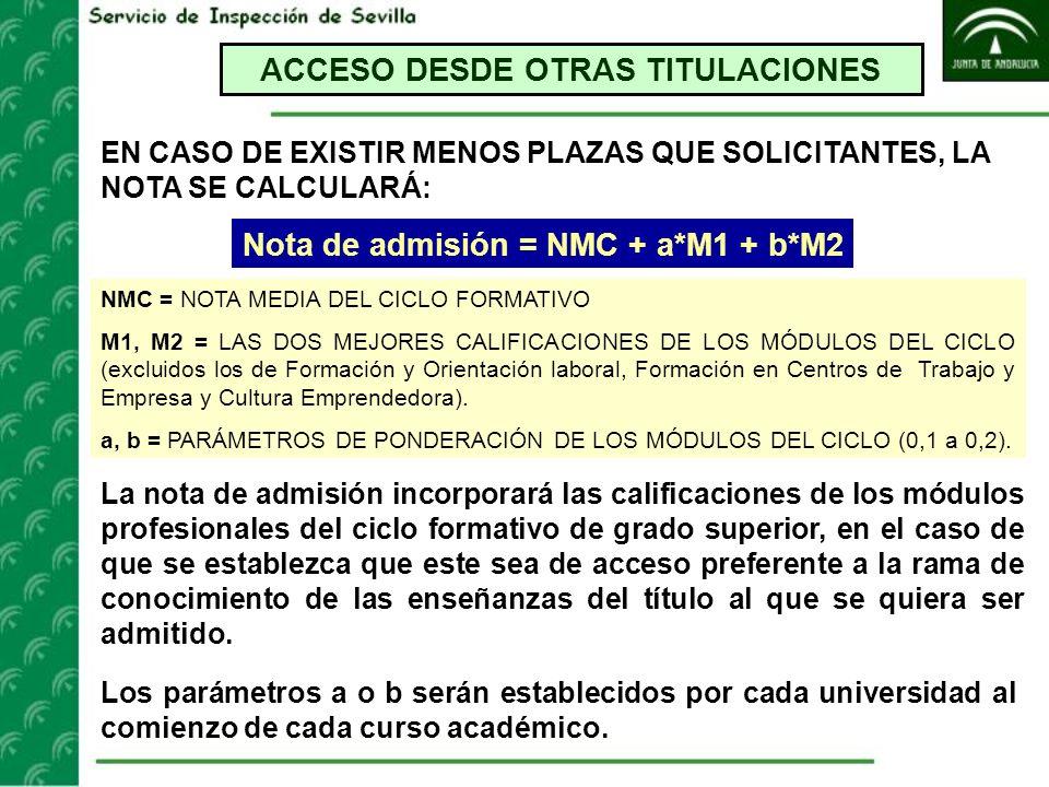 ACCESO DESDE OTRAS TITULACIONES Nota de admisión = NMC + a*M1 + b*M2