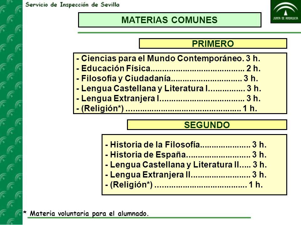 MATERIAS COMUNES PRIMERO SEGUNDO