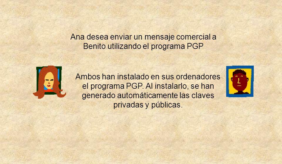 Ana desea enviar un mensaje comercial a Benito utilizando el programa PGP