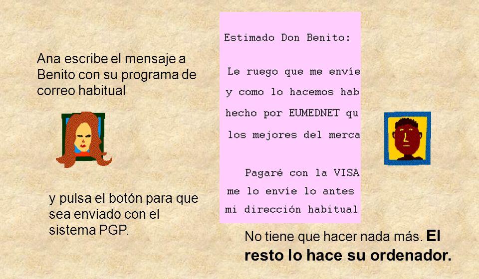 Ana escribe el mensaje a Benito con su programa de correo habitual