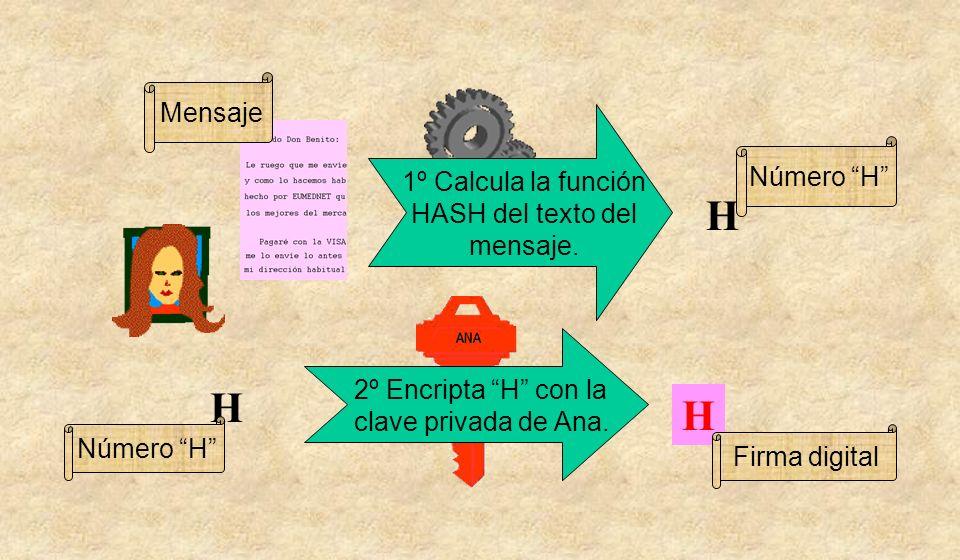 1º Calcula la función HASH del texto del mensaje.