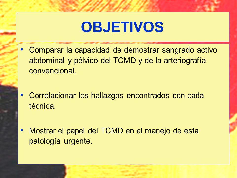 OBJETIVOS Comparar la capacidad de demostrar sangrado activo abdominal y pélvico del TCMD y de la arteriografía convencional.