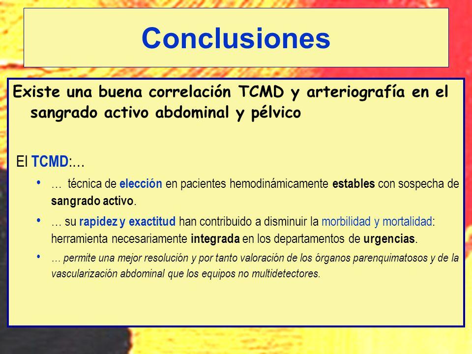 Conclusiones Existe una buena correlación TCMD y arteriografía en el sangrado activo abdominal y pélvico.