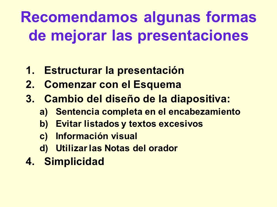 Recomendamos algunas formas de mejorar las presentaciones