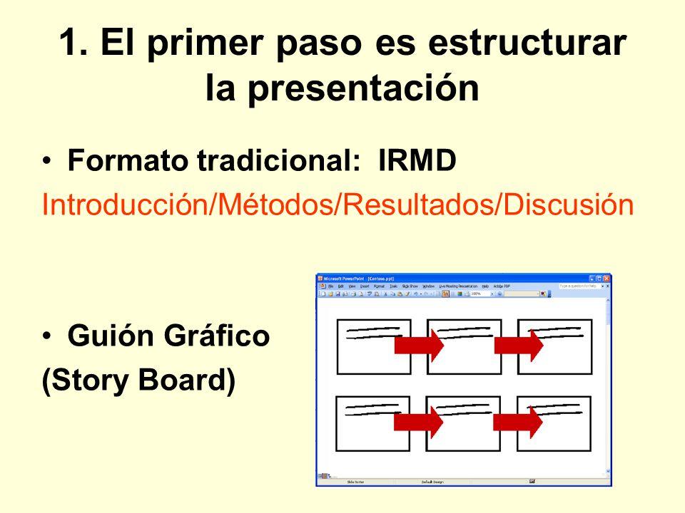 1. El primer paso es estructurar la presentación