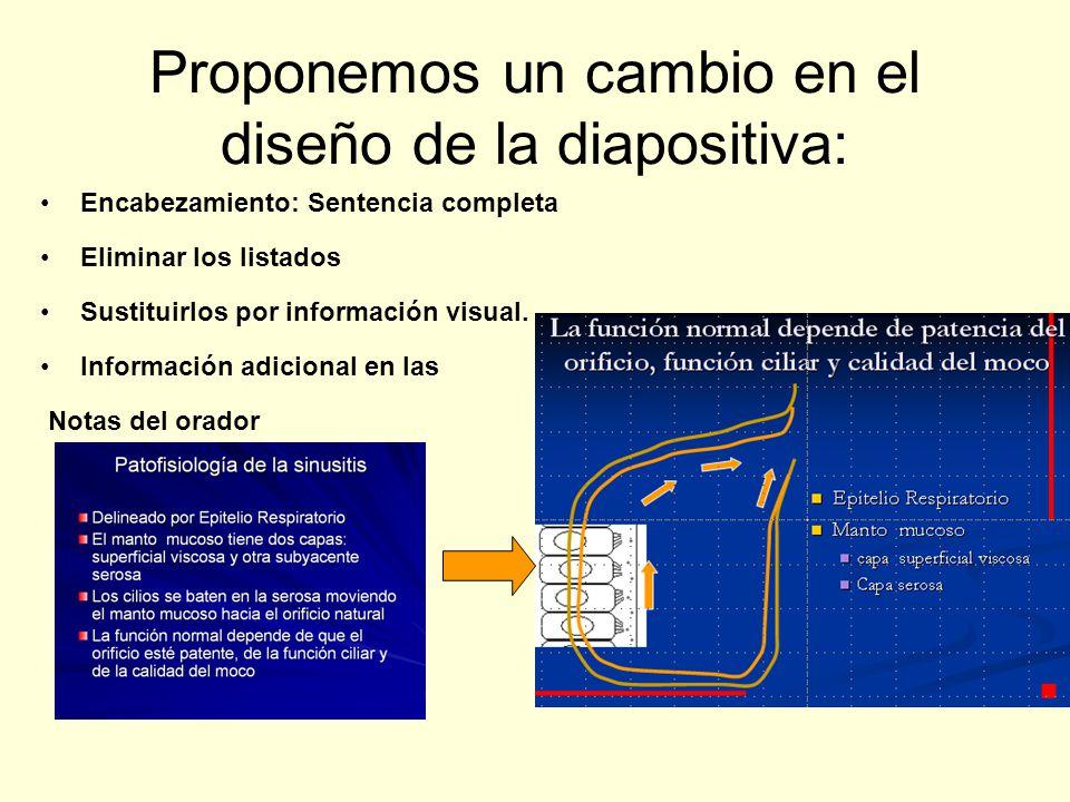 Proponemos un cambio en el diseño de la diapositiva: