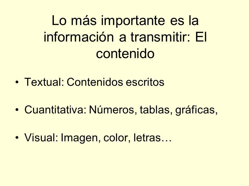 Lo más importante es la información a transmitir: El contenido