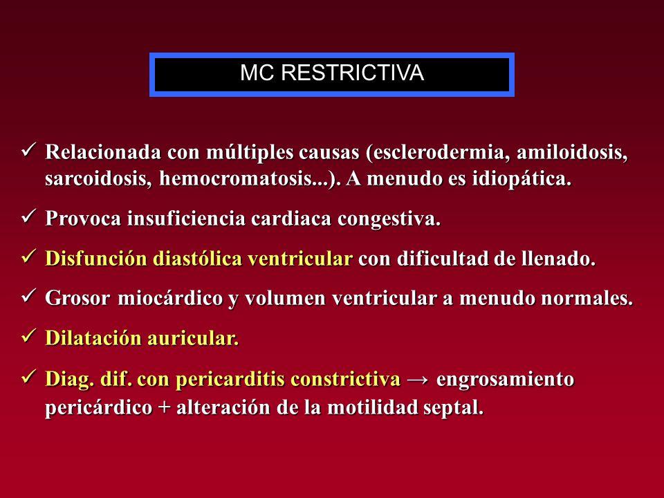 MC RESTRICTIVA Relacionada con múltiples causas (esclerodermia, amiloidosis, sarcoidosis, hemocromatosis...). A menudo es idiopática.