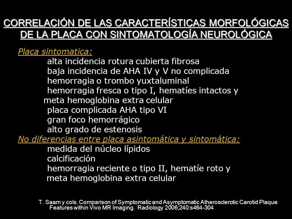 CORRELACIÓN DE LAS CARACTERÍSTICAS MORFOLÓGICAS DE LA PLACA CON SINTOMATOLOGÍA NEUROLÓGICA