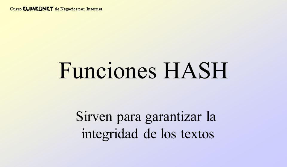 Funciones HASH Sirven para garantizar la integridad de los textos