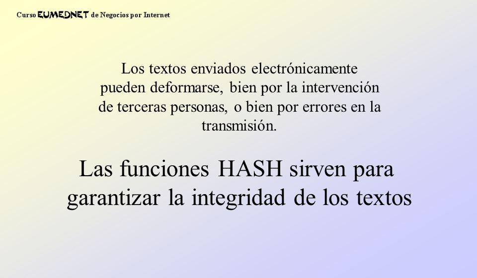 Las funciones HASH sirven para garantizar la integridad de los textos