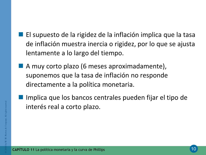 El supuesto de la rigidez de la inflación implica que la tasa de inflación muestra inercia o rigidez, por lo que se ajusta lentamente a lo largo del tiempo.