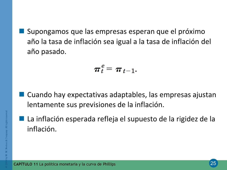 Supongamos que las empresas esperan que el próximo año la tasa de inflación sea igual a la tasa de inflación del año pasado.