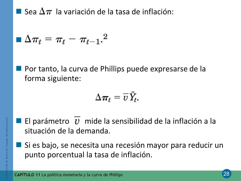 Sea la variación de la tasa de inflación:
