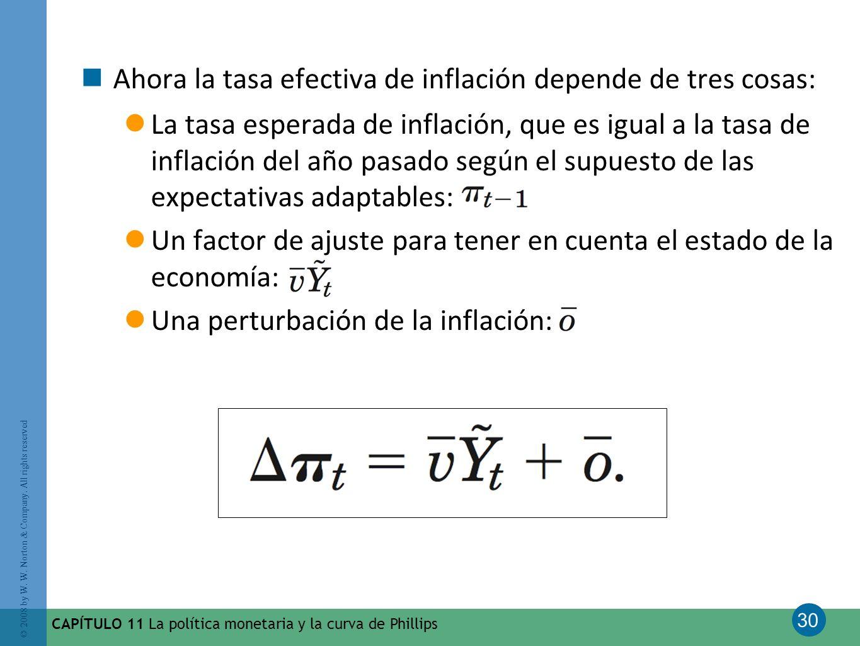 Ahora la tasa efectiva de inflación depende de tres cosas: